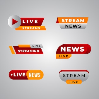 Modelo de coleção de banner de notícias de transmissões ao vivo