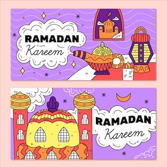 Modelo de coleção de banner ramdan design plano