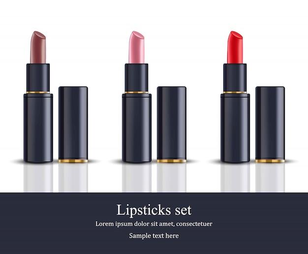 Modelo de coleção de beleza de batom. pacotes de cosméticos realistas