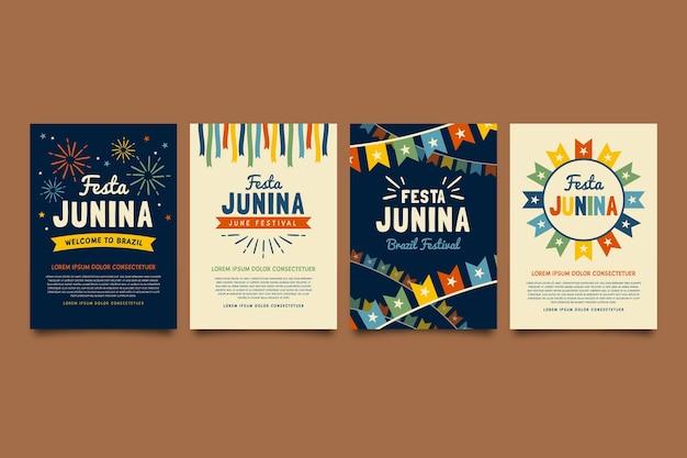 Modelo de coleção de cartão de festa junina em design plano