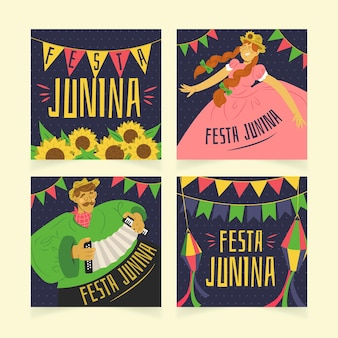 Modelo de coleção de cartão de festa junina