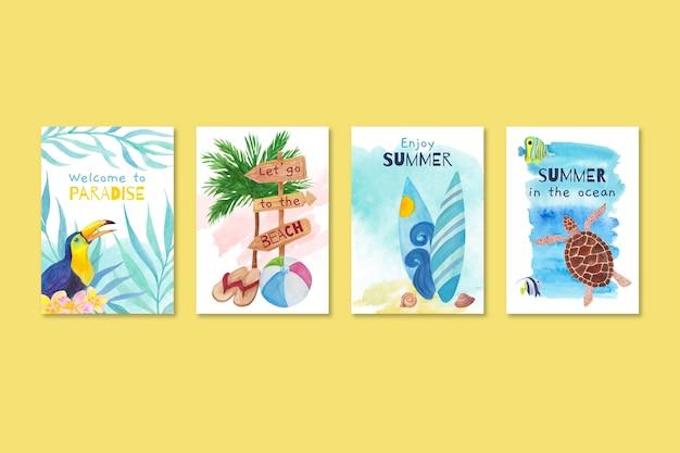 Modelo de coleção de cartão de verão aquarela