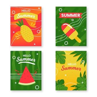 Modelo de coleção de cartão de verão desenhados à mão