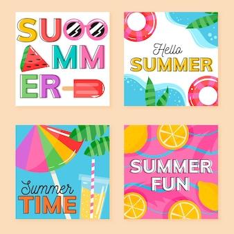 Modelo de coleção de cartão de verão