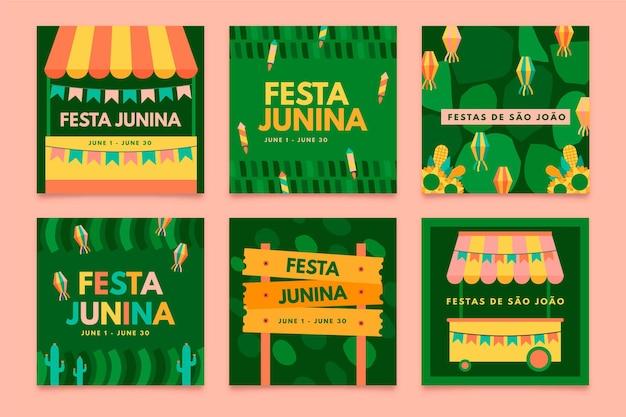 Modelo de coleção de cartão festa junina design plano
