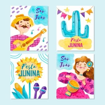 Modelo de coleção de cartão festa junina em aquarela