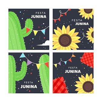 Modelo de coleção de cartão festa junina mão desenhada