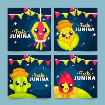Modelo de coleção de cartão festa junina plana