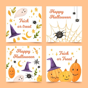 Modelo de coleção de cartões de feliz dia das bruxas