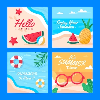 Modelo de coleção de cartões de verão