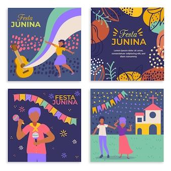 Modelo de coleção de cartões festa junina design plano