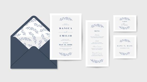 Modelo de coleção de convite de casamento elegante, bonito e minimalista
