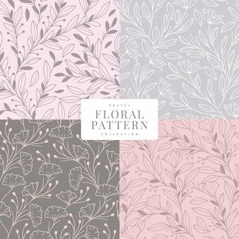 Modelo de coleção de cor pastel de padrão floral