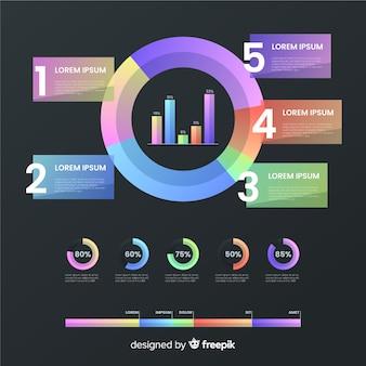 Modelo de coleção de elemento infográfico gradiente
