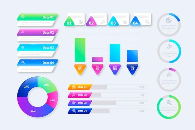 Modelo de coleção de elementos infográfico