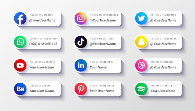 Modelo de coleção de ícones do terço inferior das mídias sociais modernas