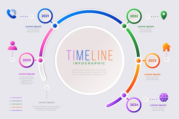 Modelo de coleção de infográfico da linha do tempo
