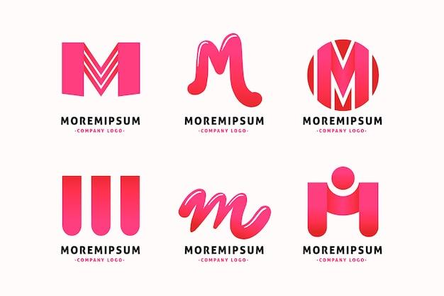Modelo de coleção de logotipo da letra m