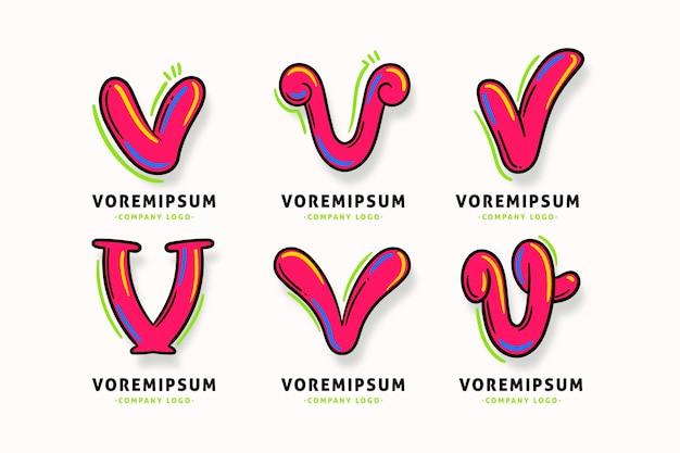 Modelo de coleção de logotipo da letra v