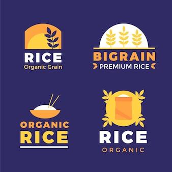 Modelo de coleção de logotipo de arroz