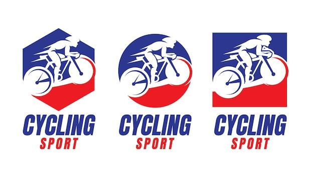 Modelo de coleção de logotipo de ciclismo esportivo