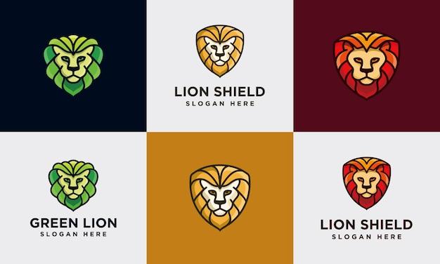 Modelo de coleção de logotipo de leão colorido