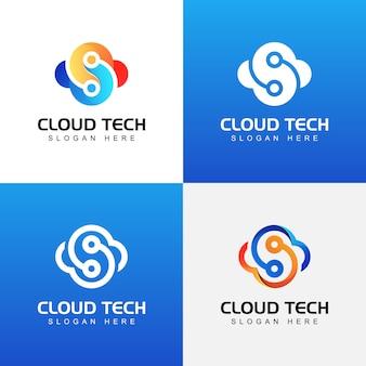 Modelo de coleção de logotipo de tecnologia moderna nuvem
