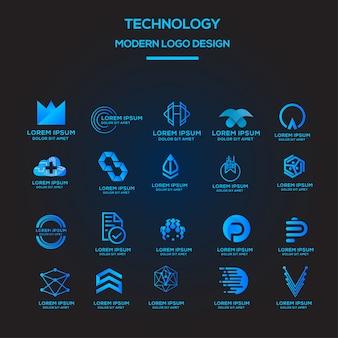 Modelo de coleção de logotipo de tecnologia