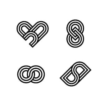 Modelo de coleção de logotipo linear abstrato