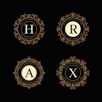 Modelo de coleção de logotipo retrô de luxo