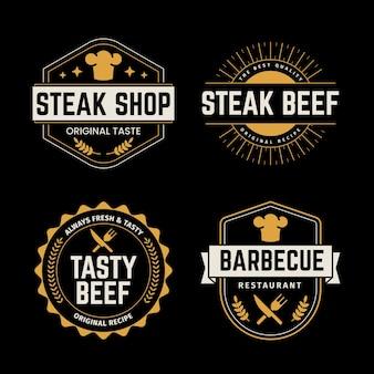 Modelo de coleção de logotipo retrô de restaurante