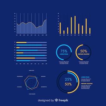 Modelo de coleção de painel infográfico