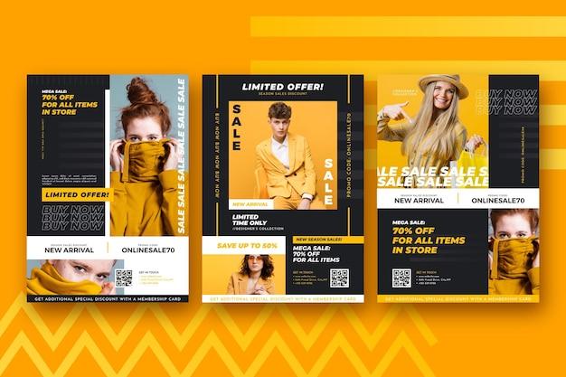 Modelo de coleção de panfletos de venda de moda