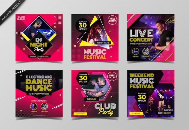 Modelo de coleção de post de instagram de evento de música