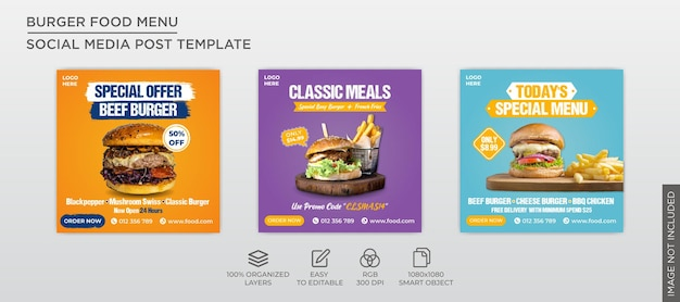 Modelo de coleção de postagem de banner quadrado de menu de hambúrguer
