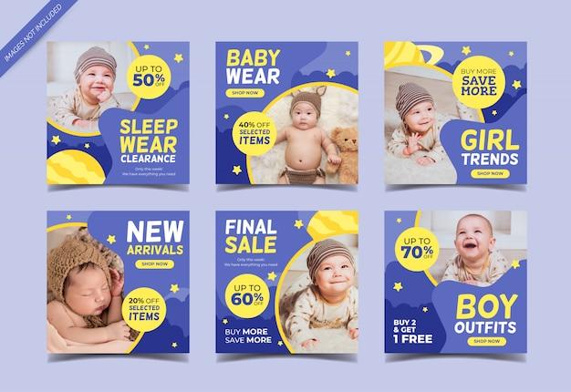 Modelo de coleção de postagem de instagram de venda de moda bebê
