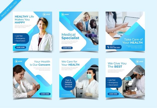 Modelo de coleção de postagens do instagram de saúde médica