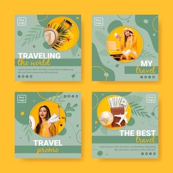 Modelo de coleção de postagens do instagram de viagens