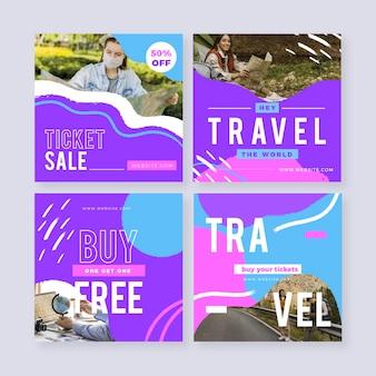 Modelo de coleção de postagens do instagram de viagens Vetor grátis
