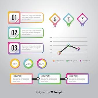 Modelo de coleção infográfico para negócios