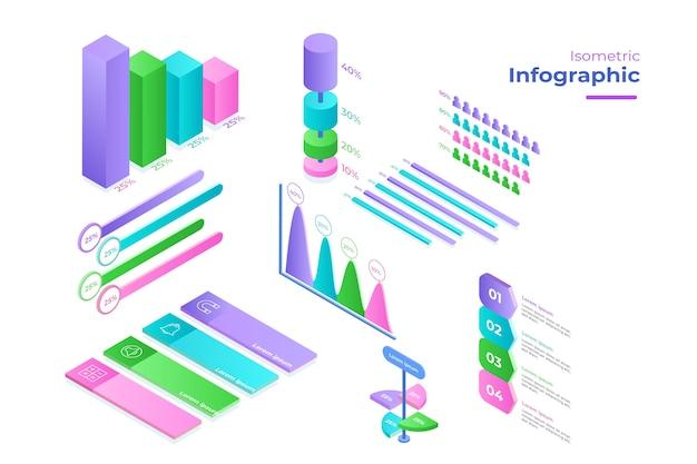Modelo de coleção isométrica infográfico