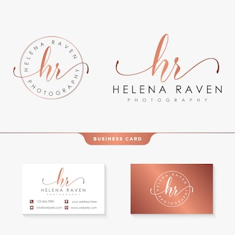 Modelo de coleções de logotipo feminino hr inicial