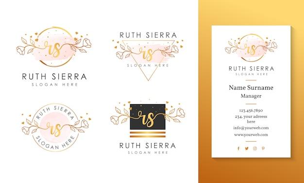 Modelo de coleções de logotipo feminino inicial rs.