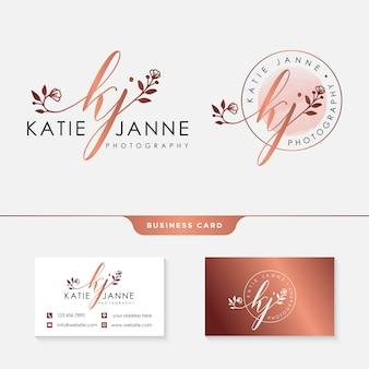 Modelo de coleções de logotipo feminino kj inicial