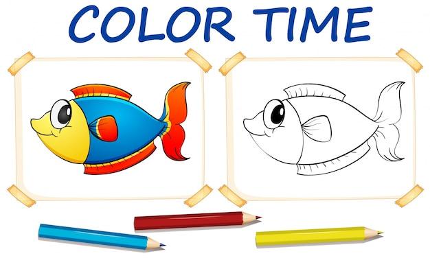 Modelo de colorir com peixe fofo
