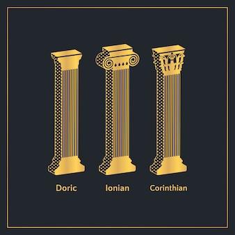 Modelo de colunas gregas antigas douradas