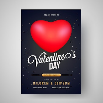 Modelo de comemoração do dia dos namorados ou design de folheto com o tempo,