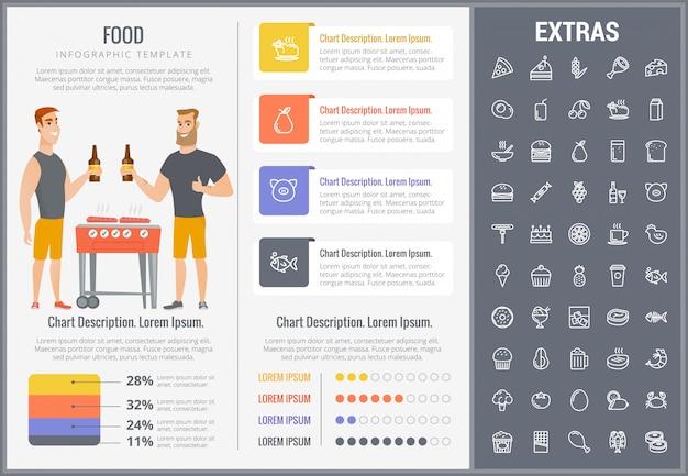 Modelo de comida infográfico, elementos e ícones