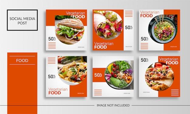 Modelo de comida vegetariana de mídia social