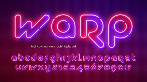 Modelo de composição futurista brilhante com alfabeto de luz neon